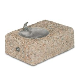 Petersen Wall-Mount Concrete Drinking Fountain with Polished Chrome Bowl