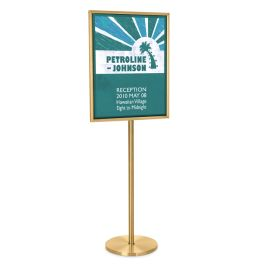 "Glaro 28""H x 22""W Single Pedestal Sign Holder with Satin Brass Finish"
