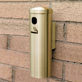 "Glaro 12"" Wall-Mount Smoker's Post, Satin Brass Finish"