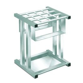 Glaro Square Umbrella Stand with Satin Aluminum Finish