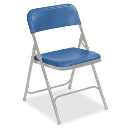 Blue Lightweight Folding Chair with Gray Frame, Set of 4