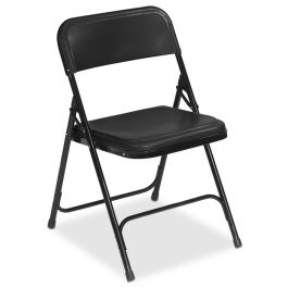 Black Lightweight Folding Chair with Black Frame, Set of 4
