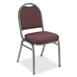 Dome Back Stacking Chair with Pattern Fabric, Set of 4