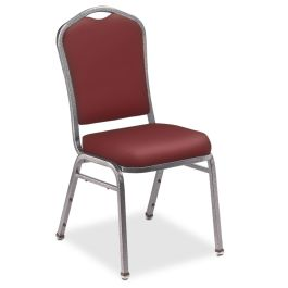 Silhouette Stacking Chair with Standard Back and Vinyl Fabric, Set of 2