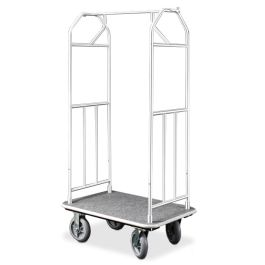 "Glaro 35"" x 24"" Bellman Hotel Cart with Satin Aluminum Finish"