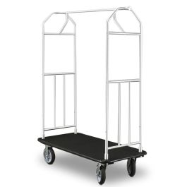 "Glaro 41"" x 24"" Bellman Hotel Cart with Aluminum Finish"