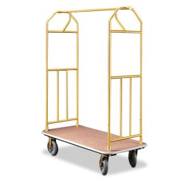 "Glaro 41"" x 24"" Bellman Hotel Cart with Brass Finish"