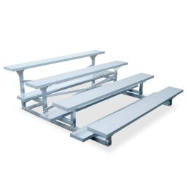 7 1/2' Aluminum Four Row Bleacher with Vertical Guardrails