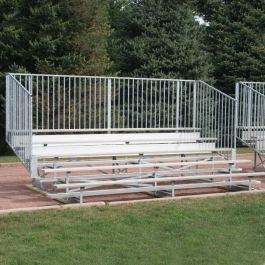 15' Aluminum Five Row Bleacher with Vertical Guardrails