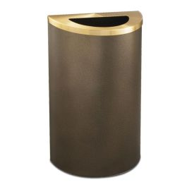 Glaro Profile 14 Gallon Half-Round Receptacle with Powder Coated Finish and Half-Round Opening