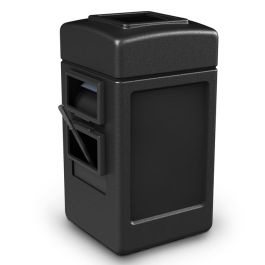 Commercial Zone 28 Gallon Black Harbor 1 Windshield Service Center with Open Trash Top and Single-Side Window Wash
