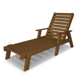 Polywood Captain Recycled Plastic Chaise Lounge with Arms