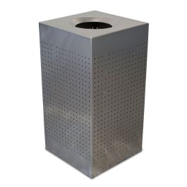 WITT Celestial 25 Gallon Square Perforated Receptacle, Brushed Stainless Steel Finish