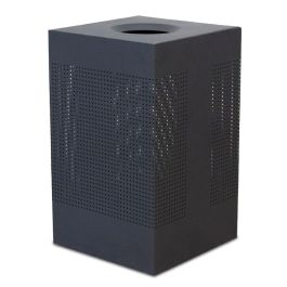 WITT Celestial 40 Gallon Square Perforated Steel Receptacle, Black Finish
