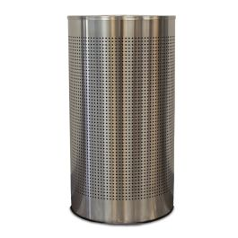 WITT Celestial 12 Gallon Half-Round Perforated Receptacle, Brushed Stainless Steel Finish