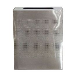 WITT Celestial 40 Gallon Rectangular Perforated Receptacle, Brushed Stainless Steel Finish