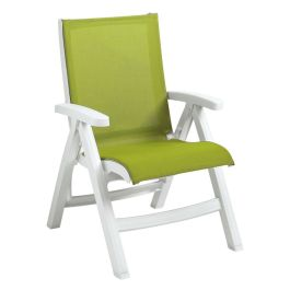 Grosfillex Jamaica Beach Midback Folding Sling Chair with White Frame, Case of 2