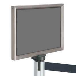 Sign Frame for Self-Retracting Crowd Control Post with Gloss Chrome Finish