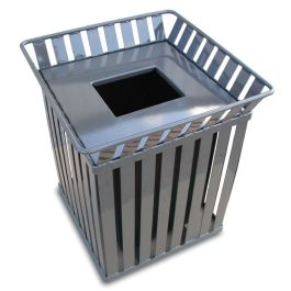WITT Oakley 36 Gallon Slatted Steel Square Receptacle with Flat Top