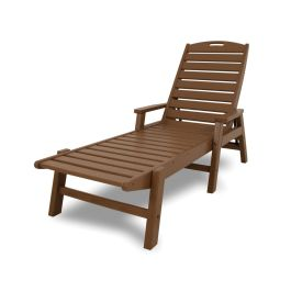 Polywood Nautical Recycled Plastic Folding Chaise Lounge w/Arms