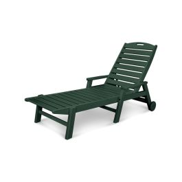 Polywood Nautical Recycled Plastic Folding Chaise Lounge with Arms and Wheels
