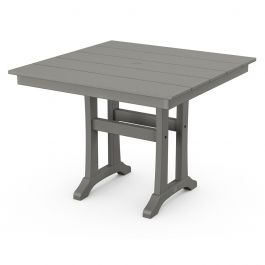 "Polywood Farmhouse 37"" Sq. Recycled Plastic Trestle Dining Table"
