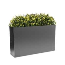 "Planters Perfect 40"" Rectangular High Series Rimmed Aluminum Planter"