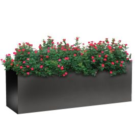 "Planters Perfect 24""H x 20""W x 72""L Rectangular Wide Series Rimmed Aluminum Planter"
