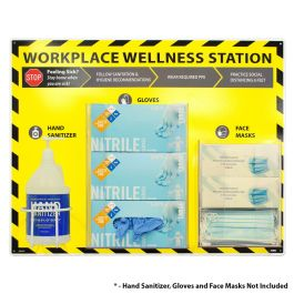National Marker Company Workplace Wellness Station - Sanitizer, Gloves and Face Masks