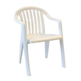 Grosfillex Miami Lowback Stacking Armchair, White, Case of 4