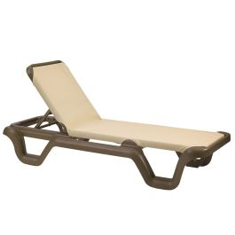 Grosfillex Marina Sling Chaise Lounge w/ Bronze Frame, Case of 2