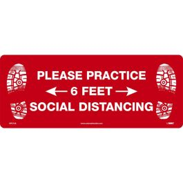 National Marker Company Adhesive-Backed Social Distancing Walk On Floor Sign - Please Practice Social Distancing