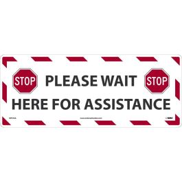 National Marker Company Adhesive-Backed Social Distancing Walk On Floor Sign - Please Wait Here for Assistance
