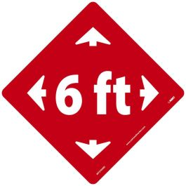 National Marker Company Adhesive-Backed Social Distancing Walk On Floor Sign - 6ft. Red Diamond