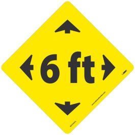 National Marker Company Adhesive-Backed Social Distancing Walk On Floor Sign - 6ft. Yellow Diamond