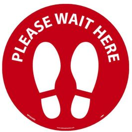 National Marker Company Adhesive-Backed Social Distancing Walk On Floor Sign - Please Wait Here Red Circle, 10 Pack