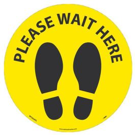 National Marker Company Adhesive-Backed Social Distancing Walk On Floor Sign - Please Wait Here Yellow Circle