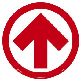National Marker Company Adhesive-Backed Social Distancing Walk On Floor Sign - White/Red Directional Arrow