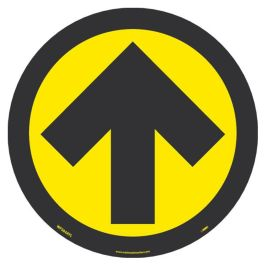 National Marker Company Adhesive-Backed Social Distancing Walk On Floor Sign - Yellow/Black Directional Arrow