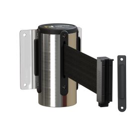 Mountour Line WMLine Wall Mount Retractable Barrier with Polished Stainless Steel Casing, 8.5 Ft. Belt