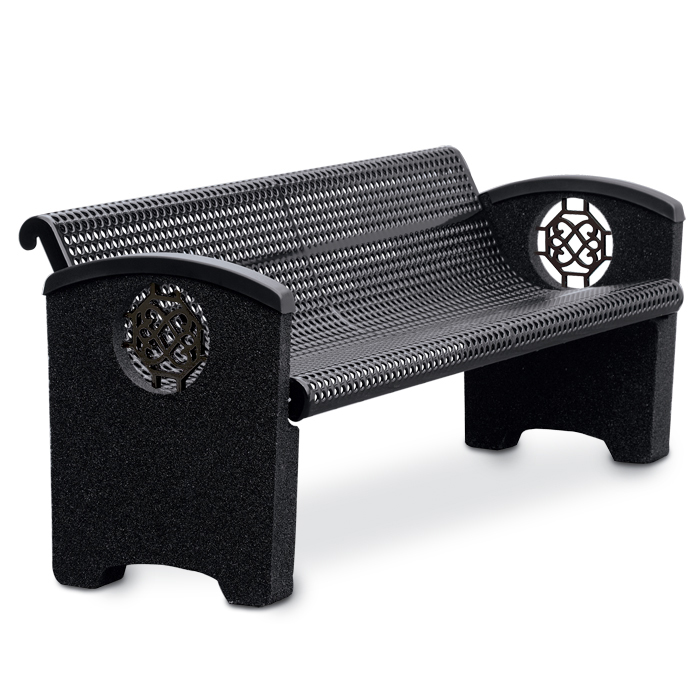 Balance 6' Perforated Steel Bench, Side Inserts