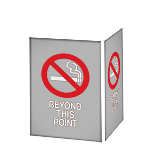 NO SMOKING BEYOND THIS POINT / GRAY BACKGROUND
